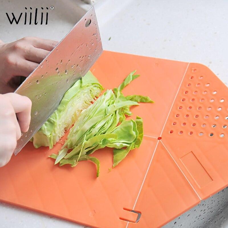 Wiilii PP Foldable Cutting Board Folds Vegetiable Salad Prep Mat Maker Folding Chopping Board To Pan Bowl Kitchen Tool Board|Chopping Blocks|   -