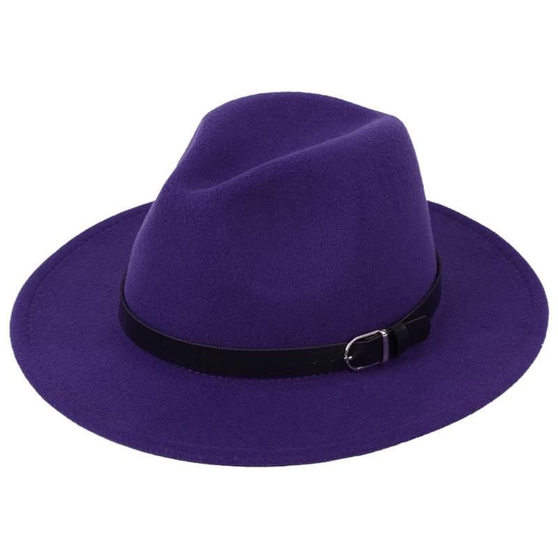 Classic British Fedora Hat Men Women Imitation Woolen Winter Felt Hats Fashion Jazz Hat Chapeau Wholesale 23