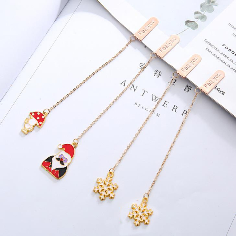 1 Pcs Cartoon Santa Claus Snowflake Mushroom Metal Pendant Bookmarks Book Markers Page Holder Merry Christmas Gifts Stationery