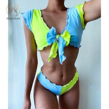 Peachtan Ruffle swimsuit women Bandeau 2 piece suit Color block swimwear female Bow bikini 2020 Sexy bathing suit short sleeves