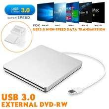 Usb 3.0 externo magro dvd rw cd writer drive gravador leitor de leitor discos ópticos dvd queimador para computador portátil