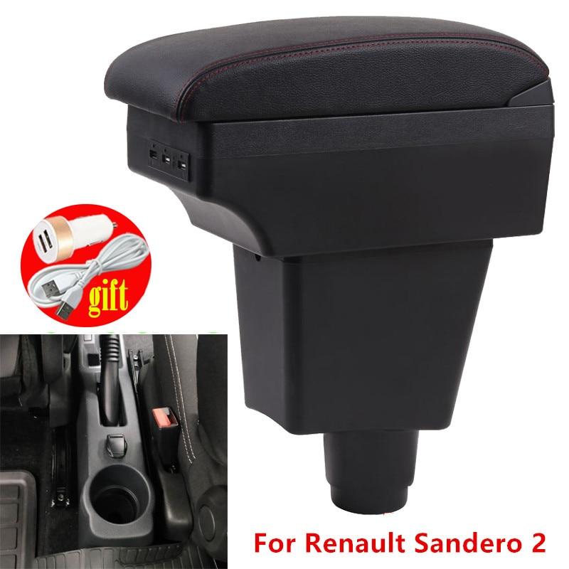 Подлокотник для Renault Sandero 2, центральный ящик для хранения Dacia Sandero, автомобильные аксессуары, интерьер с светодиодный Одом