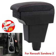 Para renault sandero 2 caixa de apoio de braço para dacia sandero centro caixa armazenamento acessórios do carro interior com usb led