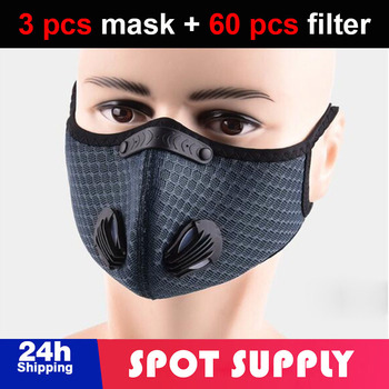 3 pcs Cycling half Face Mask With 60 pcs Filter Breathing Valve Activated Carbon Men Women Bicycle Sport Bike Masks face cover