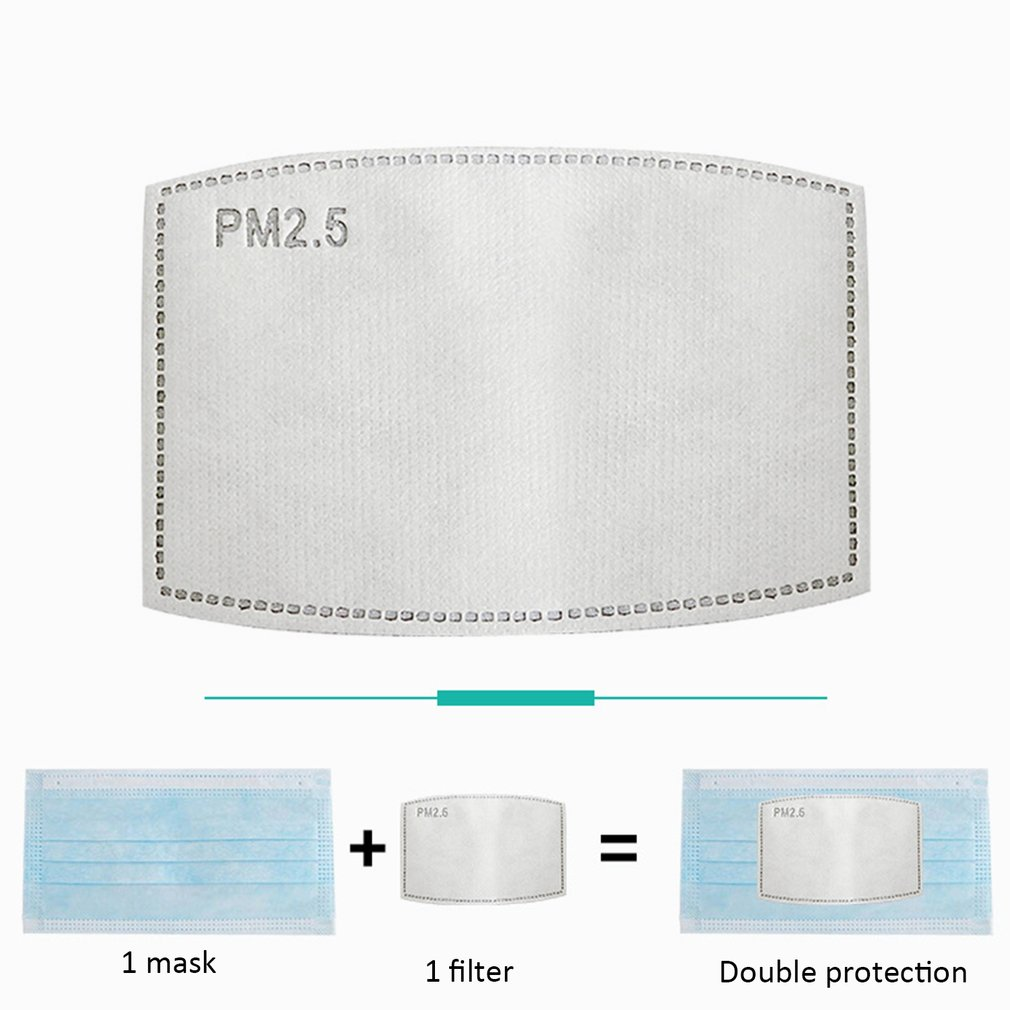 100pcs PM2.5 Filter 5 Layers Protective Filter Activated Carbon Mask Filter 3D Fitting Breathable Filtration Epidemic Mask