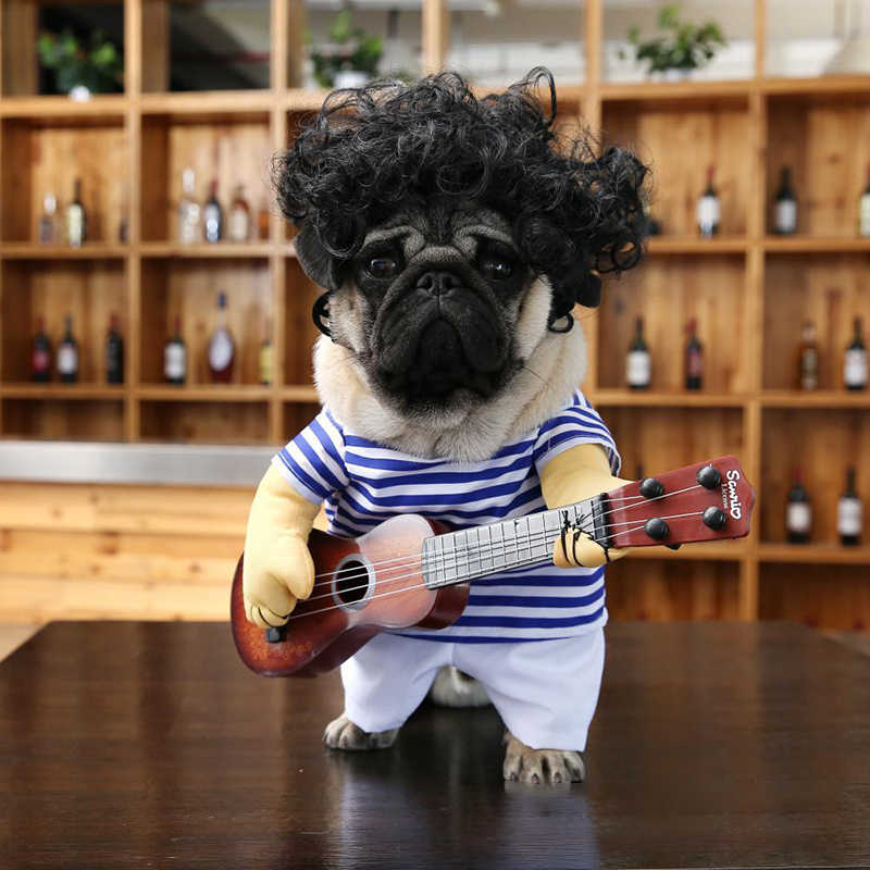 Funny Pet Cat Dog Costumes Dog Apparel Clothes For Halloween Cosplay Cute Guitar Costumes Dog Accessories