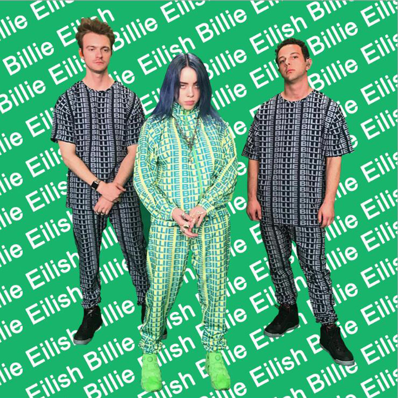 Neon Green Two Piece Set Women Tracksuit Billie Eilish 3D Letter Printed Summer Outfits Tops +Pants Sweat Suit Matching Sets