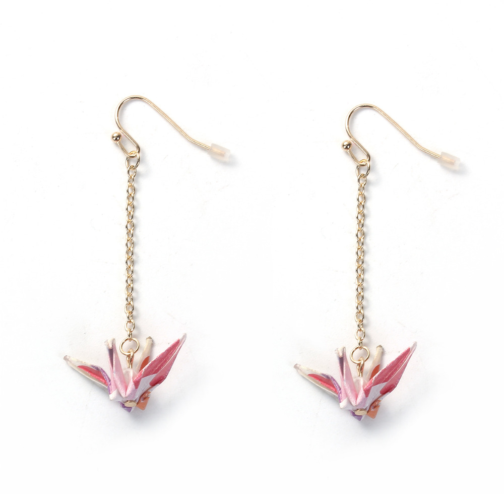 DoreenBeads Japanese Style Earrings Gold Color Drop Earrings  Origami Crane 58mmx 30mm, Post/ Wire Size: (21 Gauge), 1 Piece