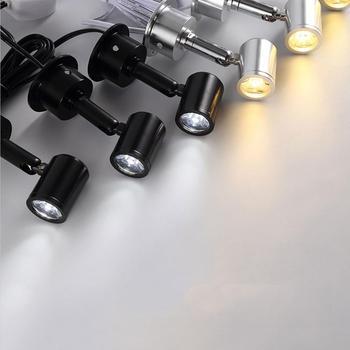 Focos LED regulables de 12V Mini luz led empotrable de techo 1W 3W AC110V 220V luz montada en superficie para vitrina