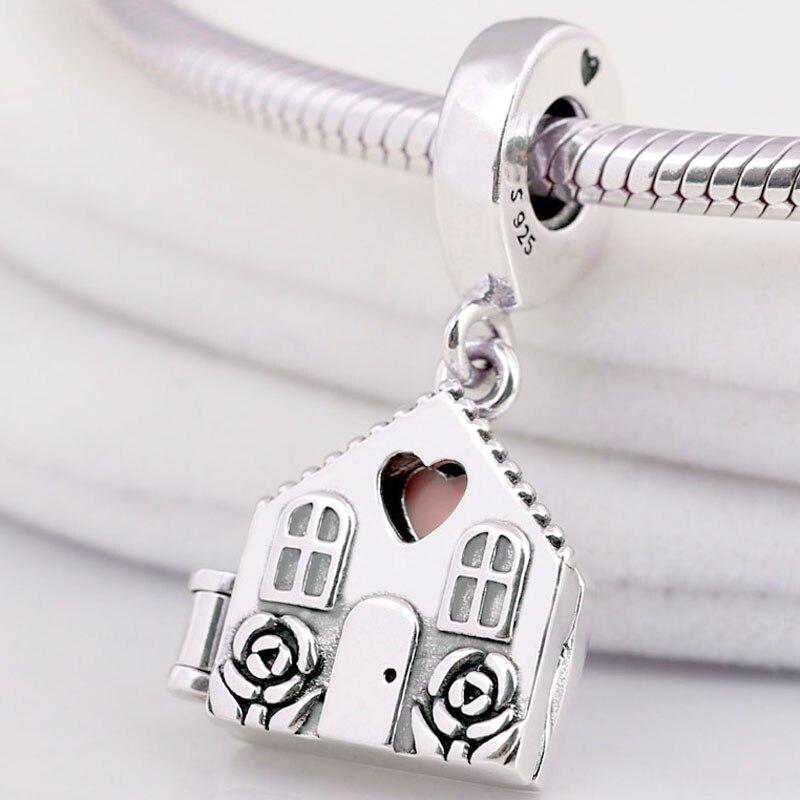 Original Pink Enamel Rose & Heart Perfect Home Locket Pendant Beads Fit 925 Sterling Silver Charm Women Pandora Bracelet Jewelry(China)