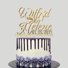 Personalizado mr & mrs bolo de casamento topper casal personalizado nomes data de casamento 15th 20th aniversário de casamento decoração do bolo topper