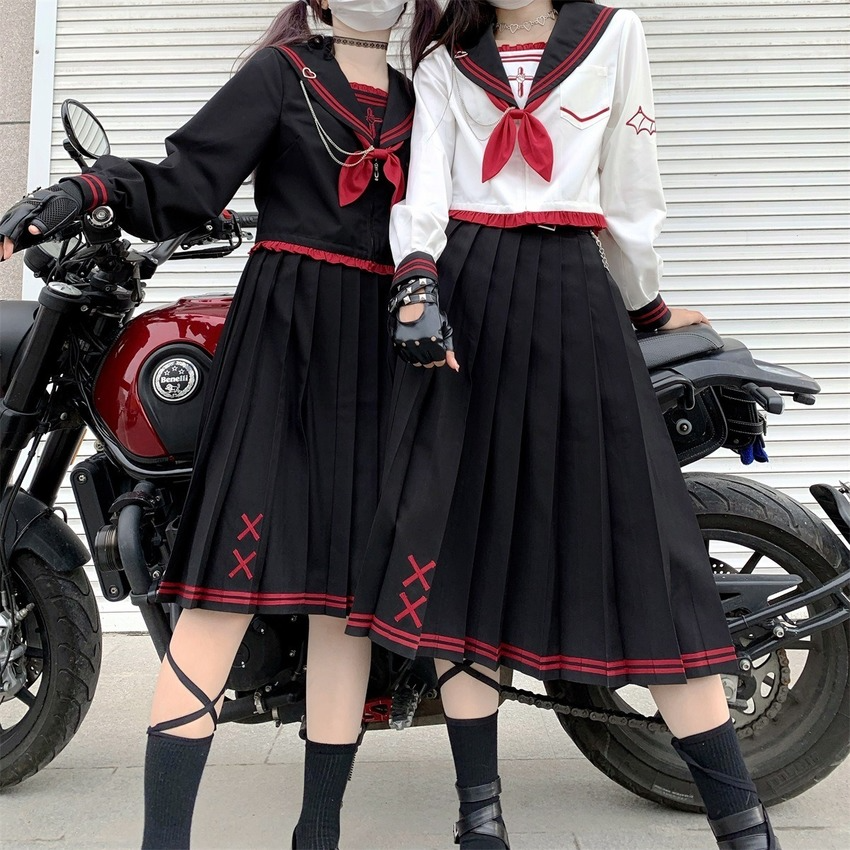 New Jk Uniform Anime School Girl Uniform Sexy High Waist Sailor Dress Pleated Skirt Japanese Fashion Sailor Suit  for Women