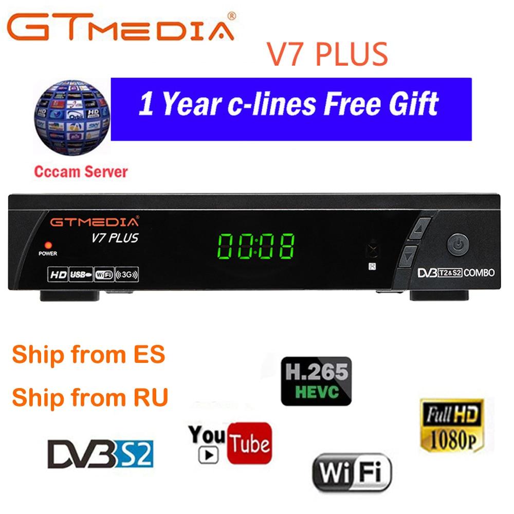 100% Original 2020 nouveauté GTMEDIA V7 PLUS DVB-S2 DVB-T2 Satellite TV Combo récepteur Support H.265 + espagne italie Cam 5 Clines