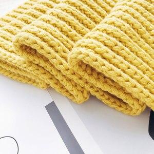 Image 4 - USPOP 2020 الشتاء وشاح كبير طويل النساء والأوشحة الإناث الدافئة وشاح محبوك عادية بسيطة بلون شال سميكة يلتف