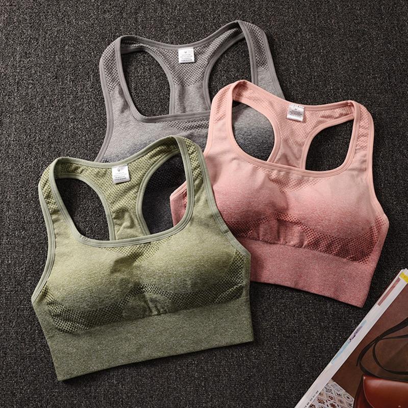 Women/'s Seamless Sports Yoga Camo Padded Racerback Running Gym Stretch Crop Top