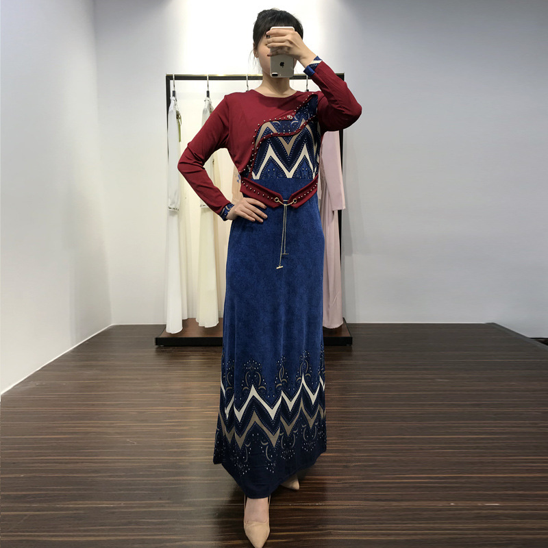 Middle Eastern national summer fashion dress female round neck beaded high waist slim slimming long sleeves Pakistani robes