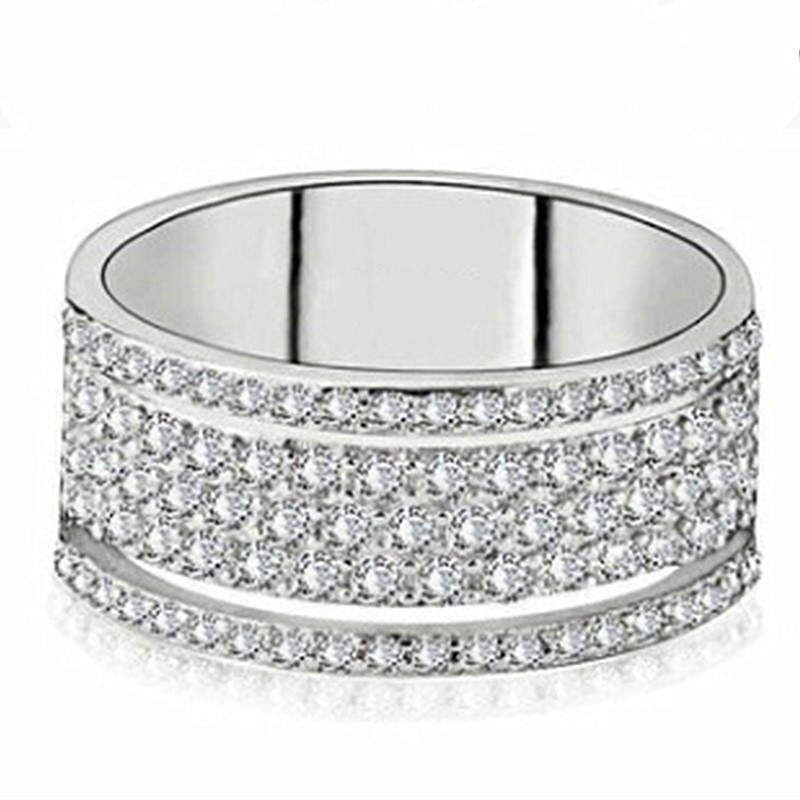 Huitan Half-turn Micro Paved CZ Trendy Women Rings Full Bling Iced Out Anniversary Jewelry Hot Sale High Quality Party Style