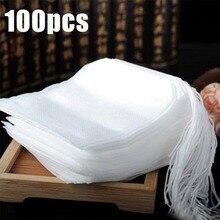 100 шт./лот чайные пакетики 5,5x7 см из нетканого материала пустые ароматизированные чайные пакетики со струной Heal Seal фильтровальная бумага для травяной листовой чай