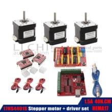 40N.CM محرك متدرج 17HS4401S الجسم طول 40 مللي متر + USB الطاقة تحكم + 3 قطعة سائق TB6600 3D الطباعة
