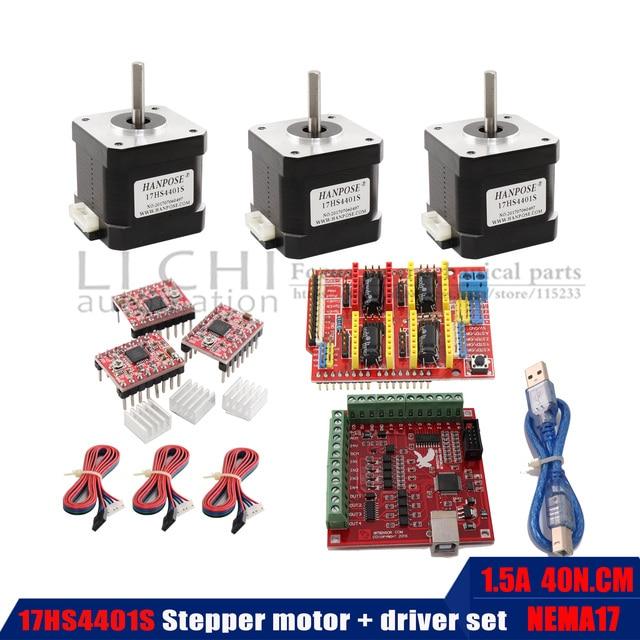 40N.CM Động Cơ Bước 17HS4401S Chiều Dài Thân 40 Mm + USB Công Suất Điều Khiển + Tặng Kèm 3 Driver TB6600 3D In