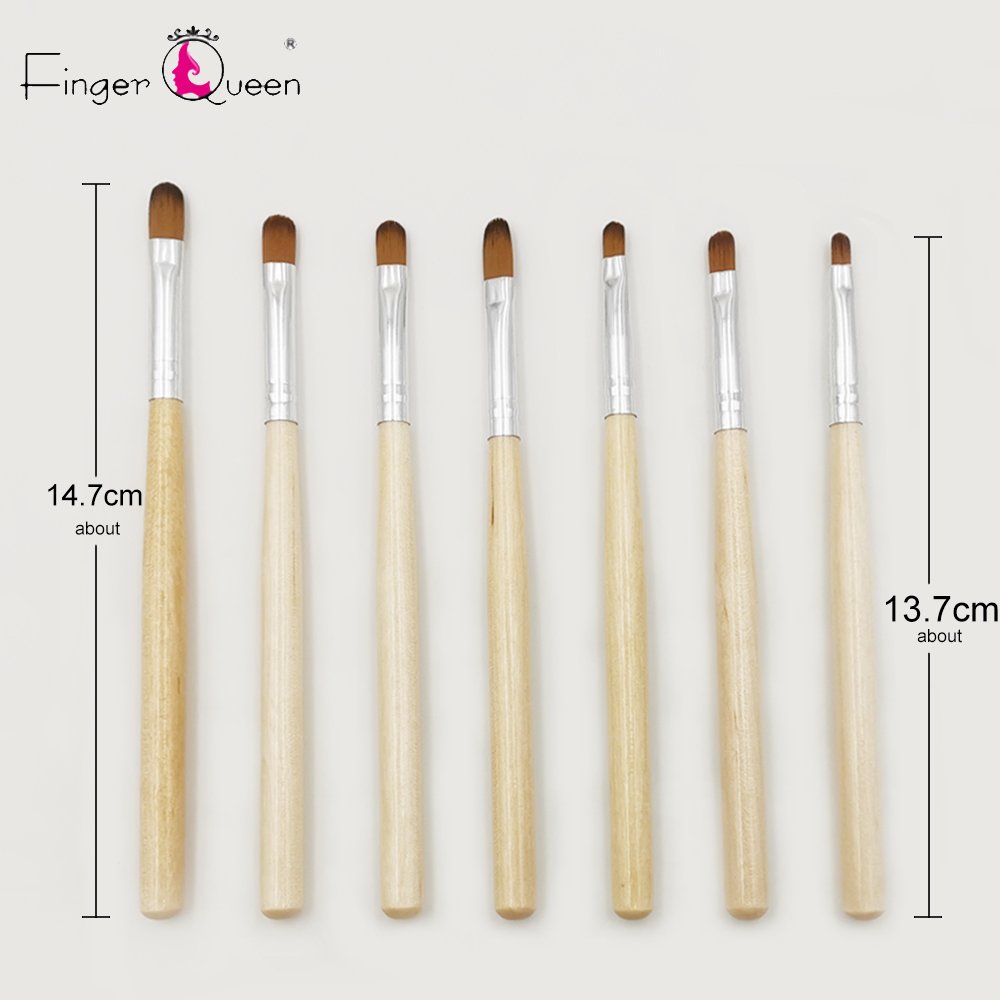 7Pcs Nail Art Brush Liner Dotting Design Acrylic Builder Flat Painting Drawing Carving Pen Gel Manicure Tool B023