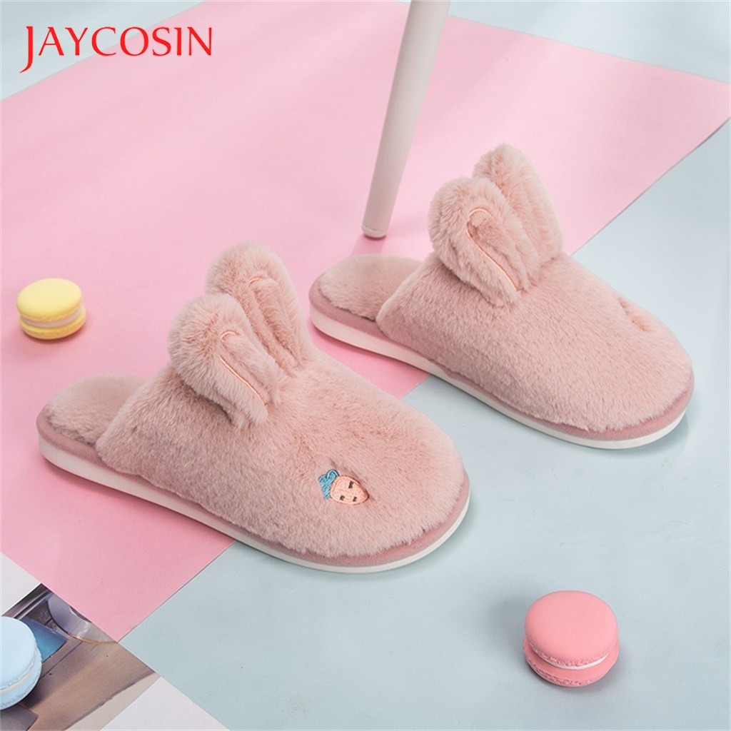 Jaycosin Winter Home Slippers Women Warm Cotton Rabbit Floor Cuty Rabit Ear Shoes Non-slip Home Rabbit Ears Slipper shoes woman 1