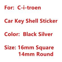 Autocollant de clé de voiture en métal époxy noir argent, autocollant de 16mm 14mm 10mm 8mm, Badge de symbole pour clé de citroën, coque de clé, décalcomanie de télécommande, 10 pièces