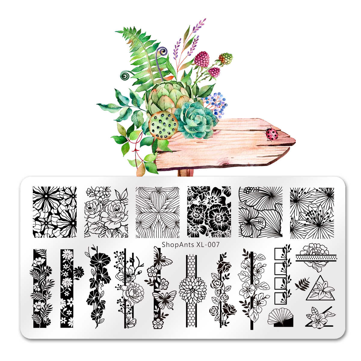 SHOPANTS 6*12CM Geometric Nail Stamping Plates Rectangle Flower Leaves Design Image Nail Art Stamp Stencils Manicure Templates