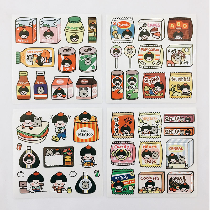 Ins Hot Cute Cartoon Characters Stickers Seal Sticker Color Hand Account Decoration Wall Stickers Korean Campus Stationery