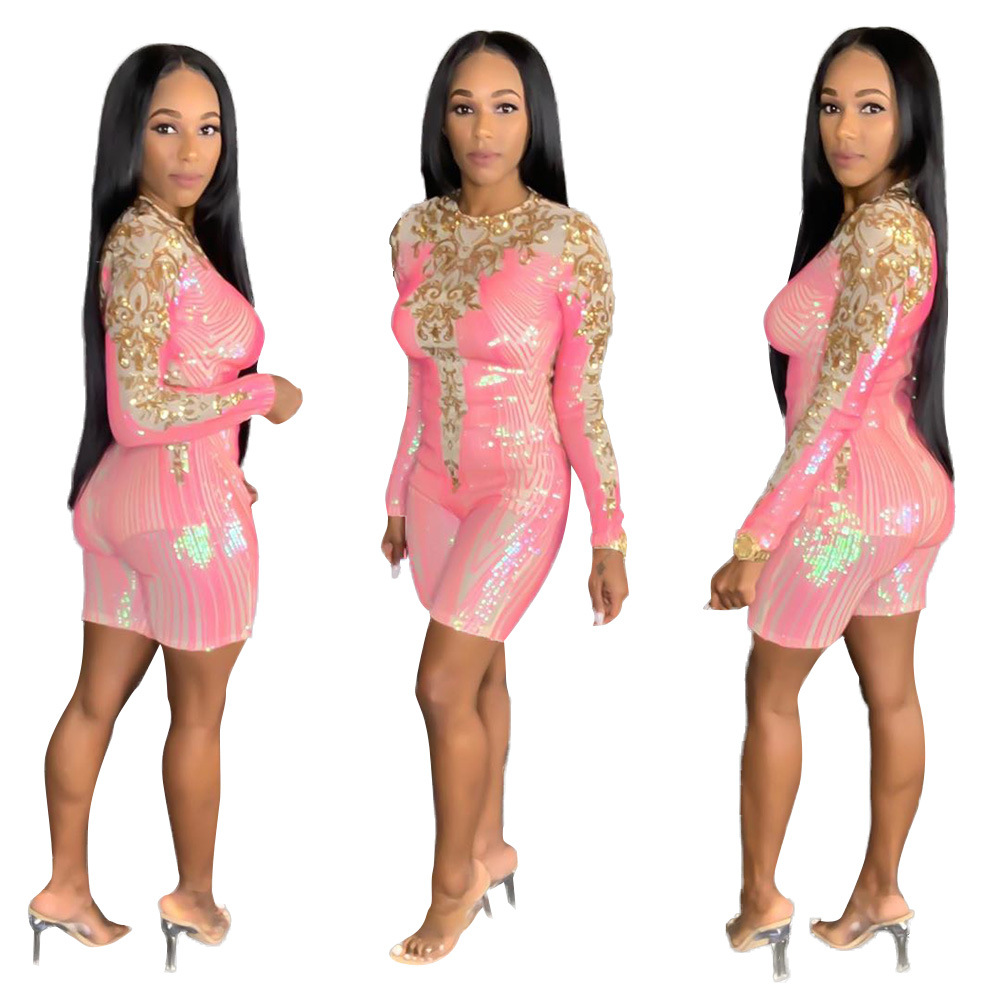 Pink Sequins O Neck Embroidery Lace Mesh Playsuit Women Sexy Skinny Sheath Long Sleeve Night Club Party Casual Overalls Rompers