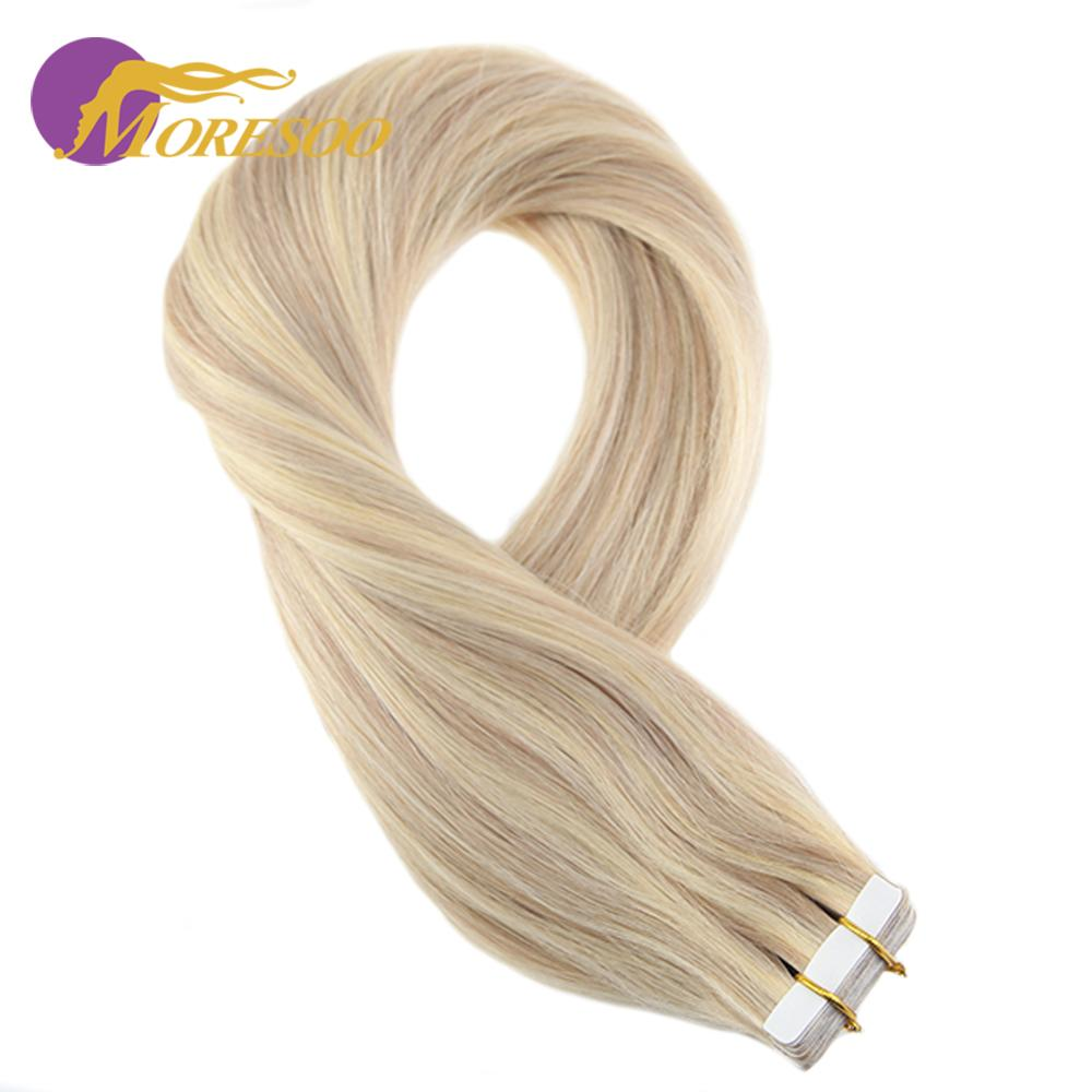 Moresoo Human Hair Tape In Extensions Ash Blonde Highlight Bleach Blonde 12-24inch Machine Remy 100% Real Human Hair