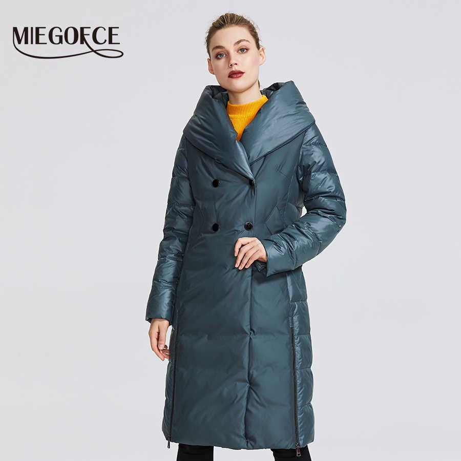 MIEGOFCE 2019 Nieuwe Winter vrouwen Collection Vrouwen Winter Jas Jas Ongebruikelijke Ontwerp Genaaid Van Twee Materialen vrouwen Parka
