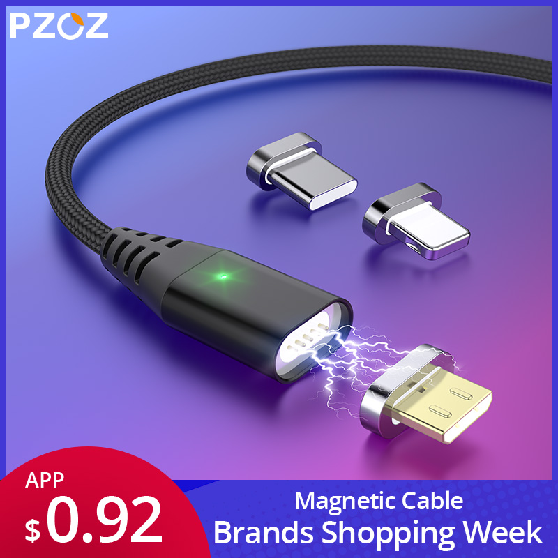 PZOZ 1M 2M Magnetic Cable Micro Usb Type C Fast Charging Microusb Type-C Magnet Charger