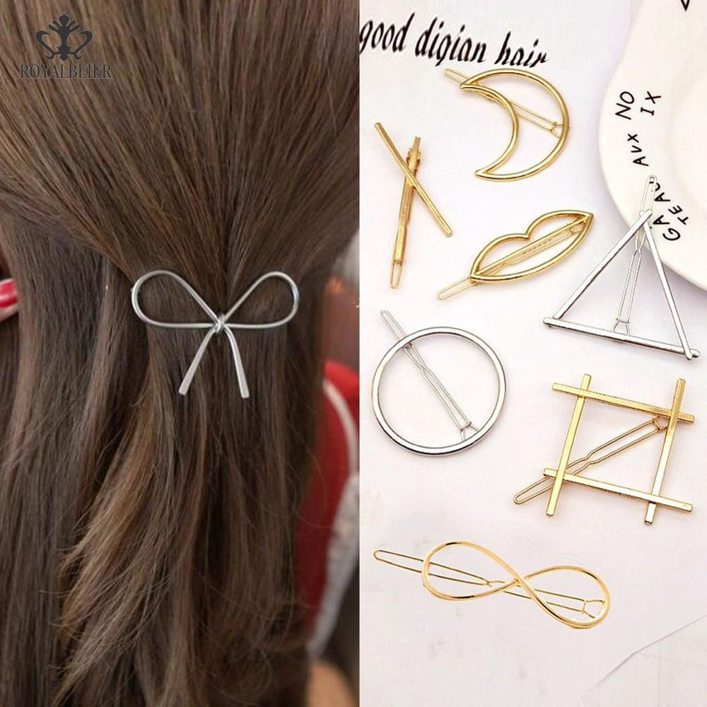2019 Best Selling Gold/Silver Plated Metal Triangle Moon Round Hairpin Side Clip Horsetail Clip Female Alloy Hair Accessories