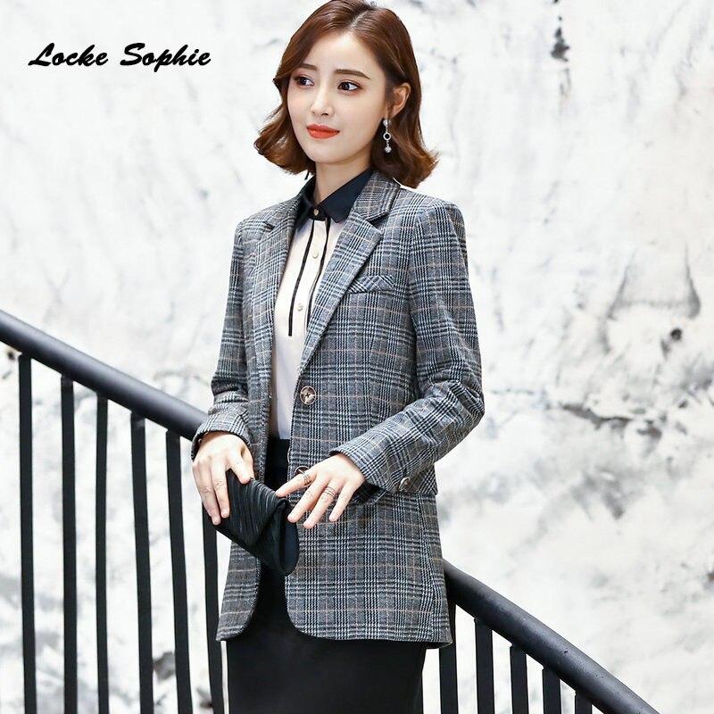 Women Plus Size Long Blazers Coats 2019 Autumn Cotton Blend Plaid Slim Fit Small Suits Jackets Ladies Skinny Blazers Suits Coats
