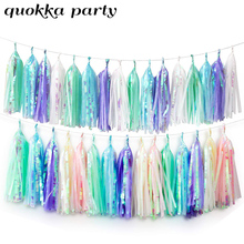 Tissue Paper Tassels Garland Flower Wedding Decorations  Birthday Baby Show Party Decoration Hanging DIY Shark Decor