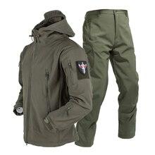 S-4XL Army Shark Skin Soft Shell Trousers Tactical Windproof Waterproof Jackets Men Flight  Combat Hood Coat Military Pant Hunt