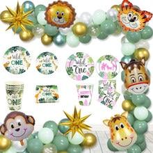 Baby Shower przyjęcie balon balon Garland Arch jednorazowe zastawy stołowe Birthday Party Safari Jungle Party Wild One Party Decoration