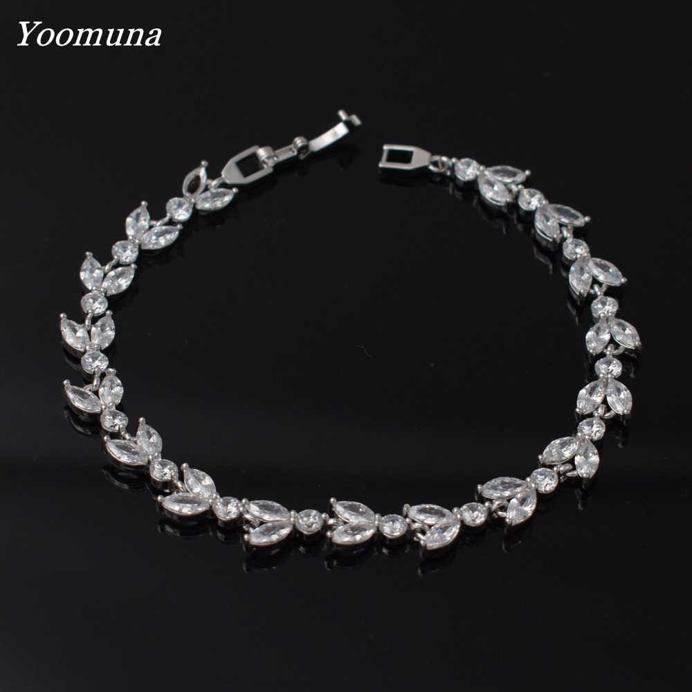 2019 new Bracelet korean Luxury Bracelets For Women Crystal Silver color cubic zircon Bracelets Femme Bridal Wedding Jewelry