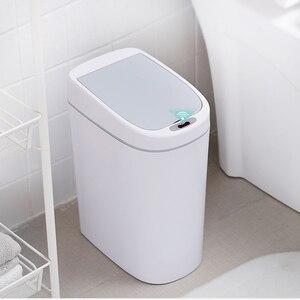 Image 3 - Cubo de basura de tipo estrecho de 10L, cubo de basura automático, sin contacto