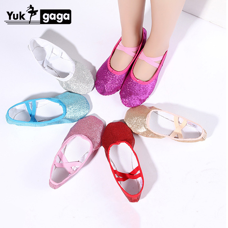 Leather/Cloth Indoor Exercising Shoes Pink Yoga Practice Slippers Gym Children PU Ballet Dance Shoes Girls Woman Kids