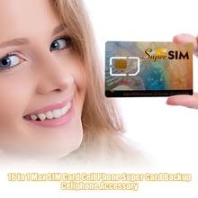 16 в 1 Max SIM для пропуска или сотового телефона Super Card Backup tarjeta sim gsm carte sim пустая sim-карта предоплаченная sim-карта аксессуары для мобильного телефона