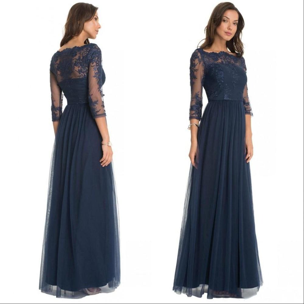 Robes de mariée de mère de mariée en dentelle marine foncé Vintage sur mesure avec manches longues longueur de plancher robes de tenue de soirée