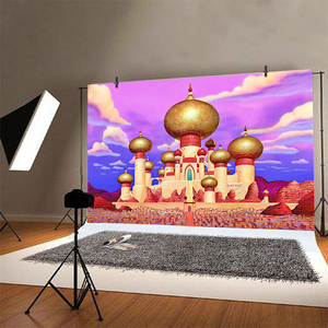 Image 3 - אלדין יסמין תמונה רקע וילון זהב מסגד שמח מסיבת יום הולדת נסיכת Vaiana קישוט צילום רקע באנר
