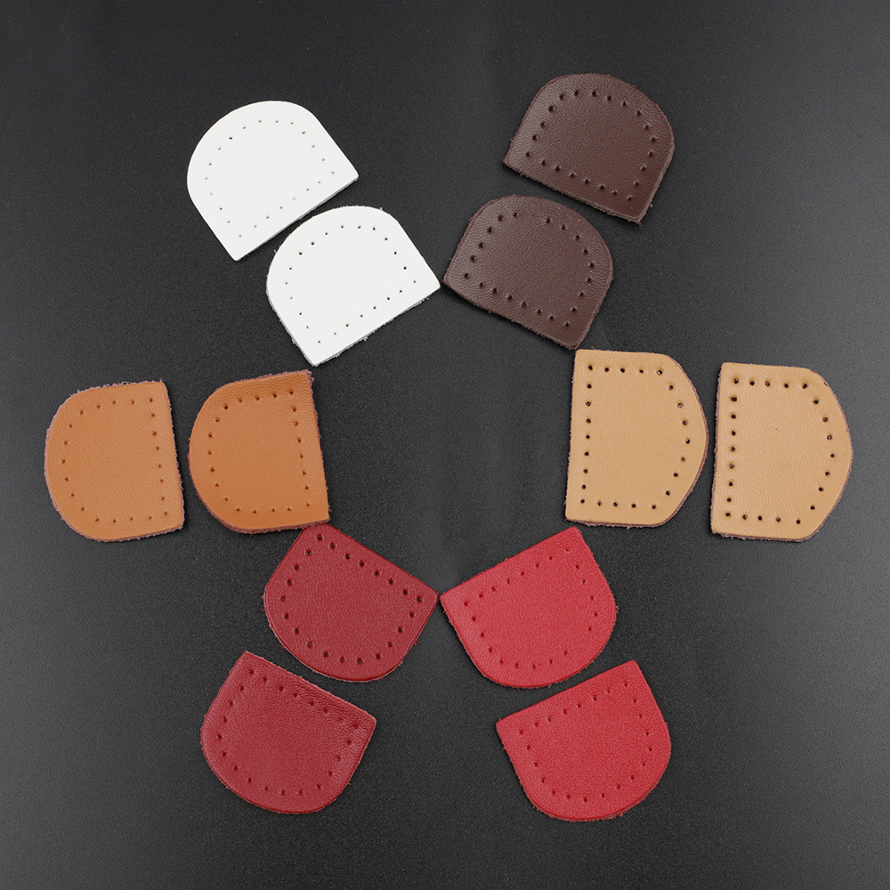 Wholesale Handmade Genuine Leather Labels D Shape Tags Bag Luggage Label DIY Hand Made Sewing Supplies