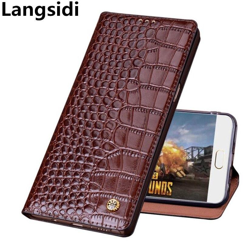 Чехол книжка из натуральной кожи с узором «крокодиловая кожа» для Asus Zenfone 6Z ZS630KL, Чехол Для Zenfone 6 2019 ZS630KL, чехол для телефона
