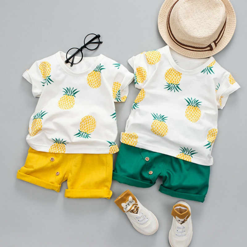 Boys Spring and Summer Set Pineapple T-Shirt Tops Solid Color Short Casual WearLeisure Newborn Boys Clothes Abbigliamento Neonao