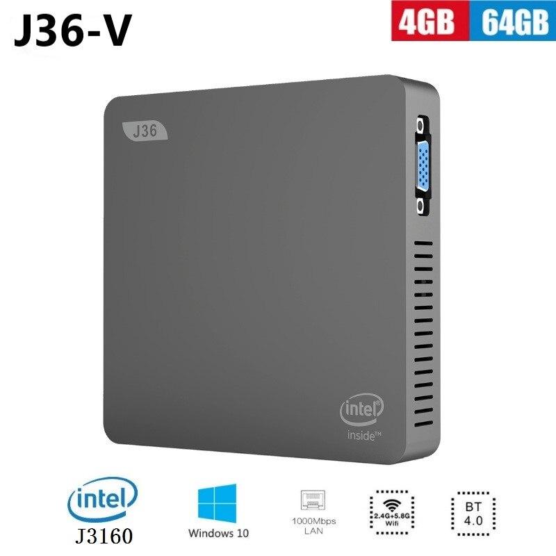 New J36-V Windows 10 Mini PC J3160 Home Desktop Computer Intel HD Graphics 4GB 64GB 2.5 Inch HDD Dual WiFi BT4.0 Minipc HDMI VGA