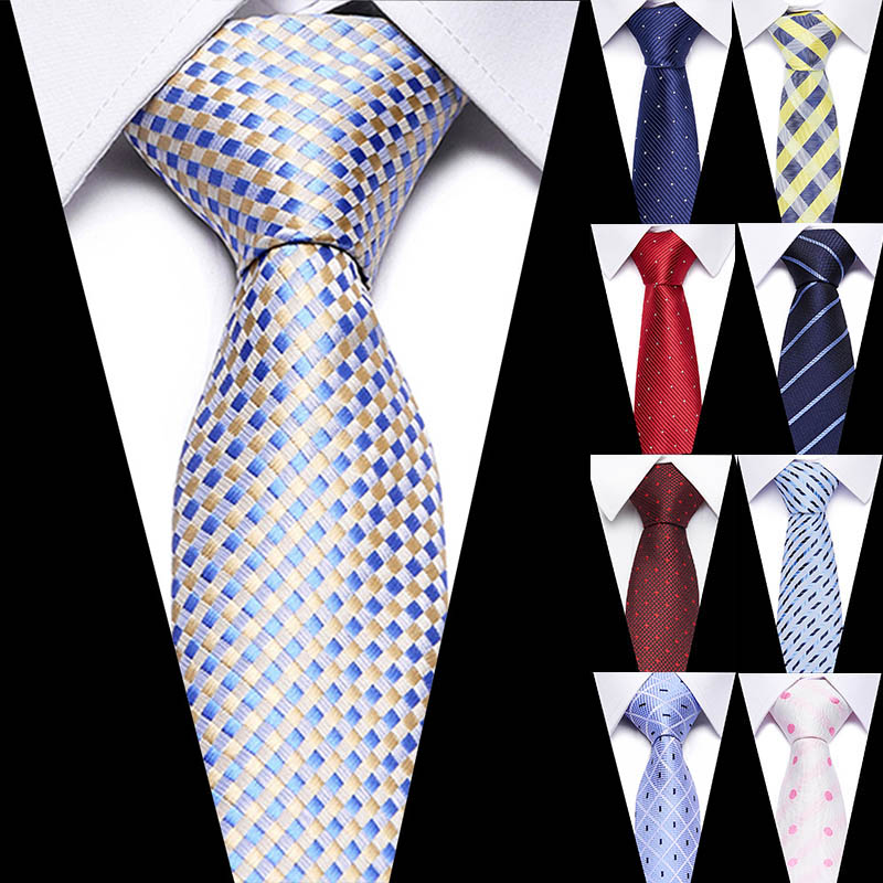 Luxury Wedding Ties 7.5cm Men's Classic Tie Silk Jacquard Woven Tie Set Business Necktie Accessories Men Necktie