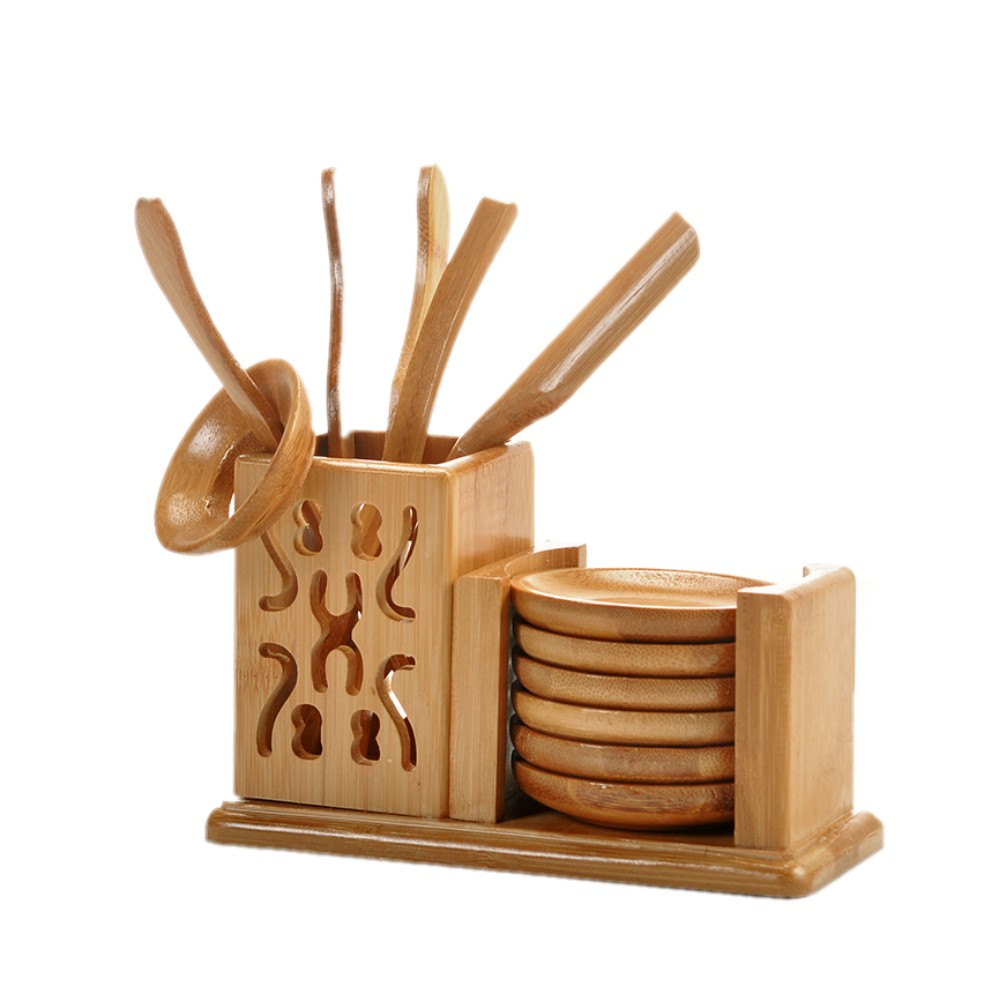 [GRANDNESS] Bamboo Tea Set Kungfu Tea Accessories - Strainer Tongs Spoon Tea Tray Set Holder